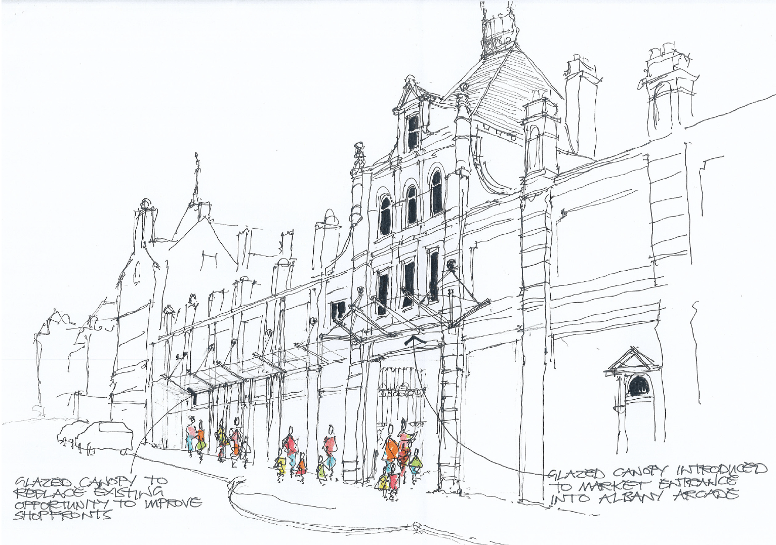 Sketch of proposal for new glazed canopy for the Albion Street frontage of Halifax Borough Market